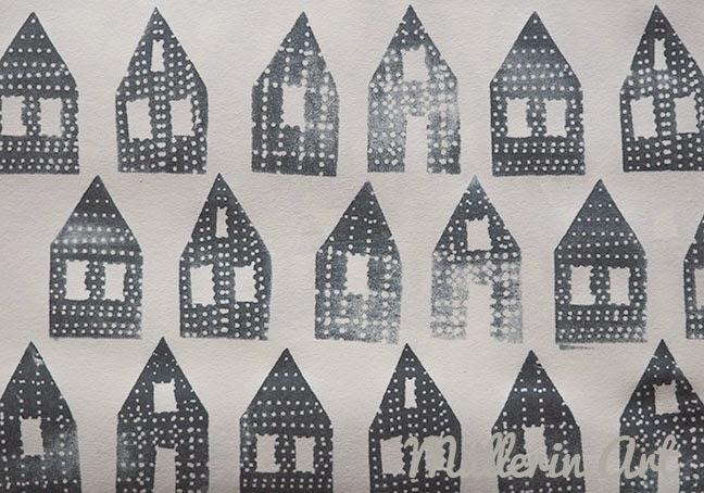 Häuser-Muster-Druck-Müllerin Art