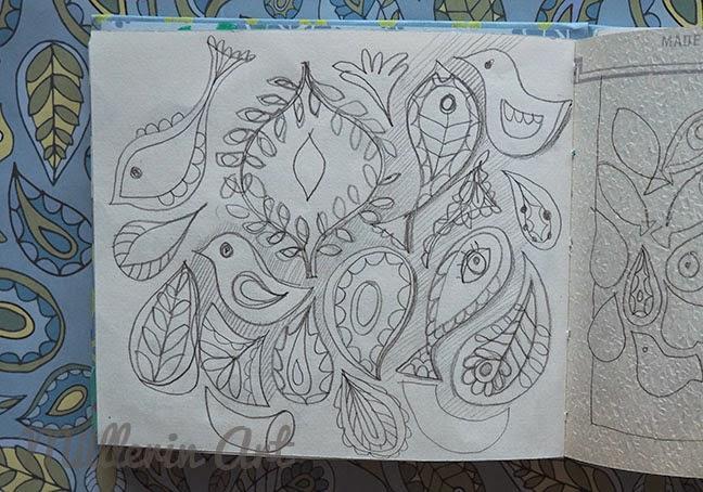 Paisleyskizze nach Müllerin Art