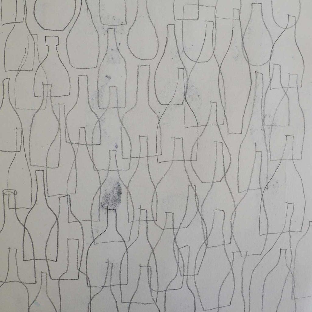 Flaschenmuster im Skizzenbuch nach ©muellerinart