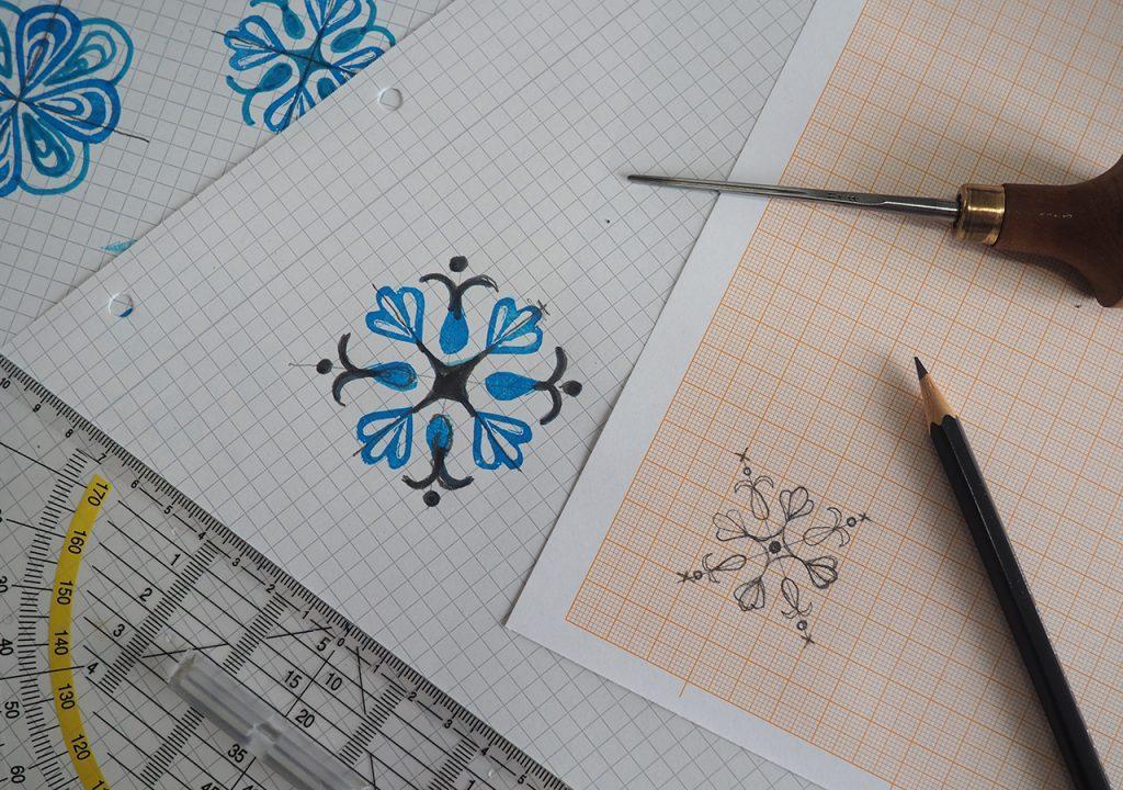 Weiß Blauer Workshop mit regnitzflimmern und alex.prettyorganized im Müllerin Art Studio