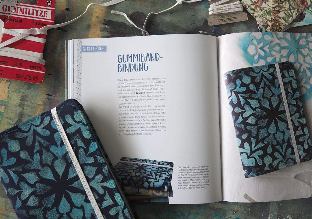 Stoff trifft Papier: Gummiband-Buch nach ©muellerinart