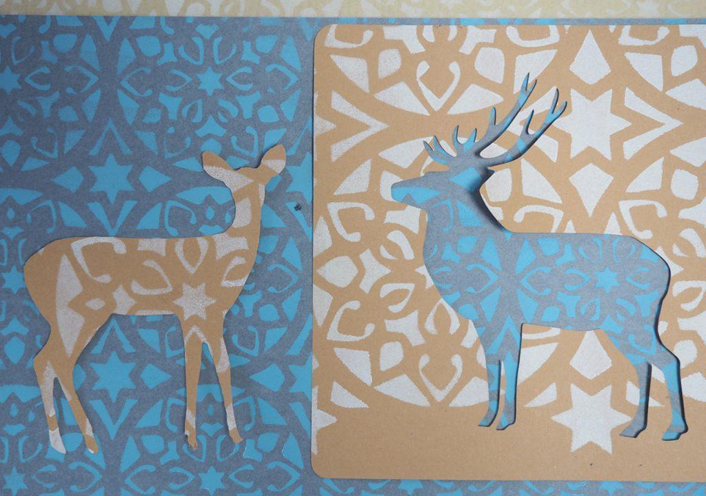 Hirsch und Sterne Schablonendruck ©muellerinartstudio