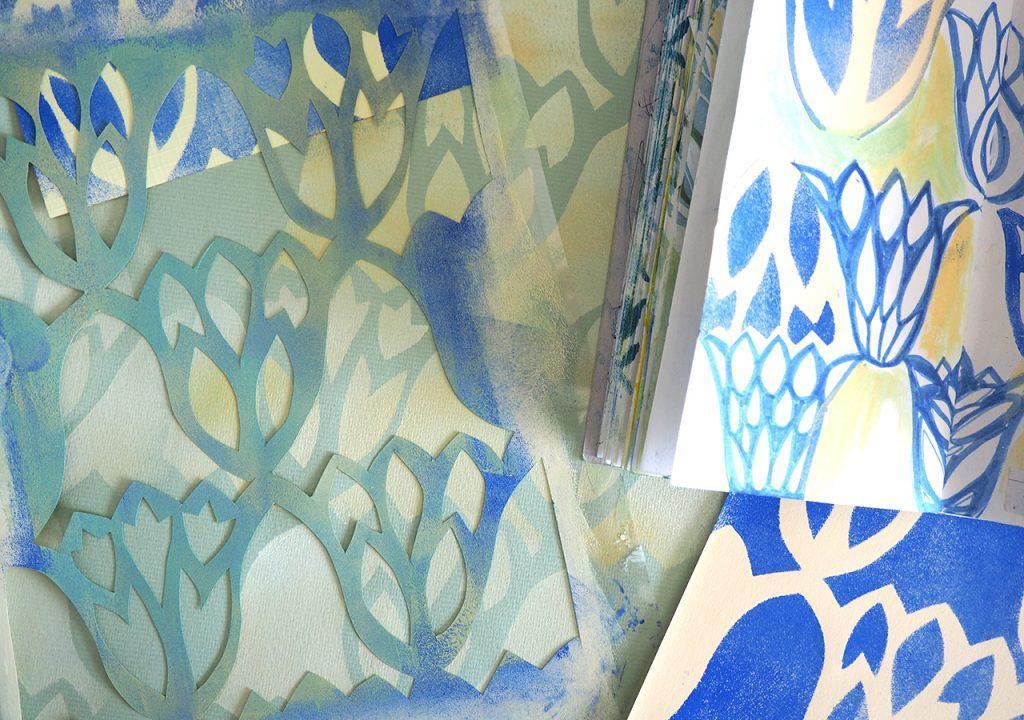 Schablonendruck Schicht + Tulpe nach ©müllerinart