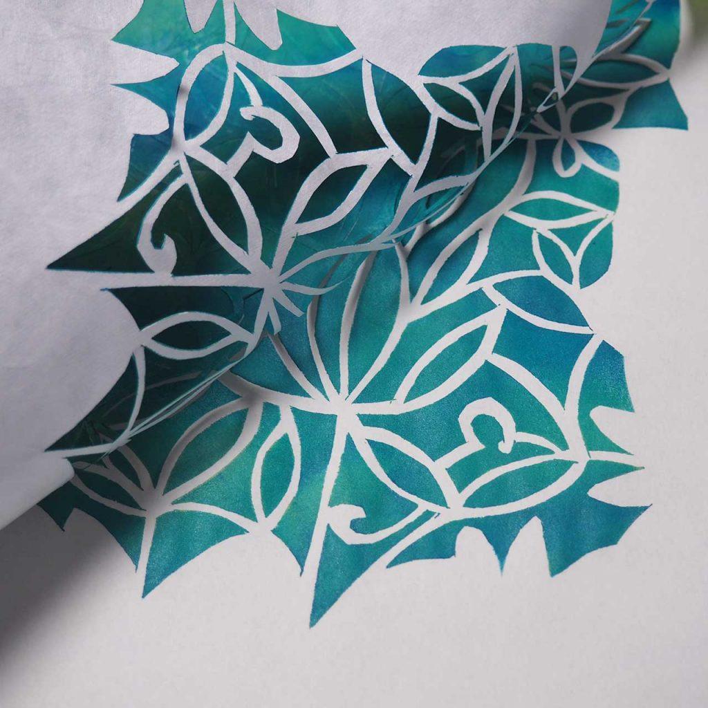 Schablonendruck Frühlings-Flora-Fauna- Muster nach müllerinart
