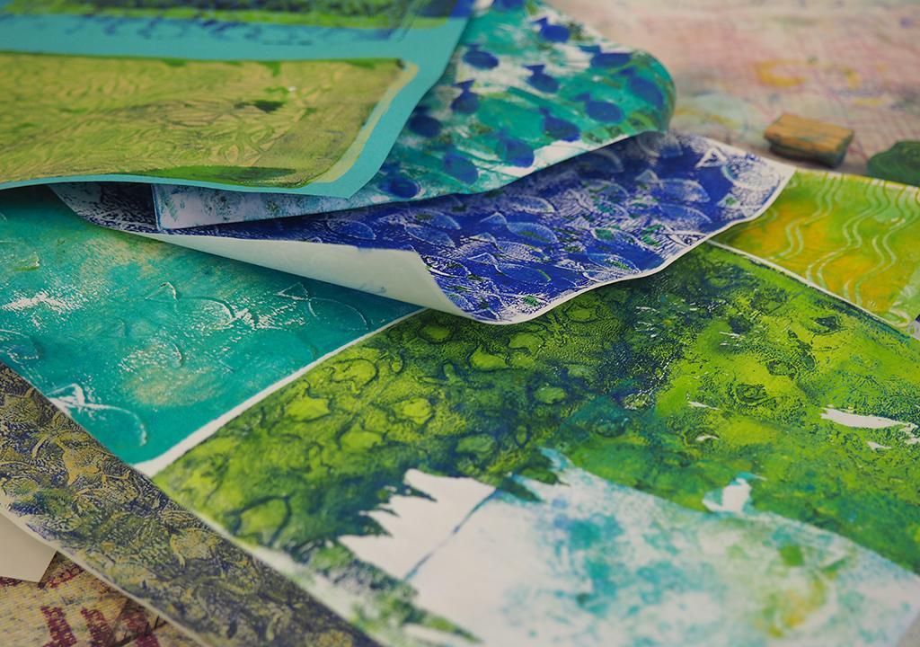 Gelliprint Workshop nach ©muellerinart im Jeromin Werkladen in Mannheim