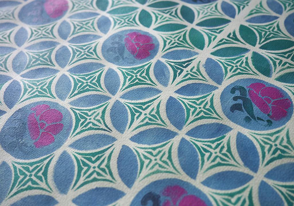 Malaysia Fliesen Muster Schablonendruck ©muelleriart