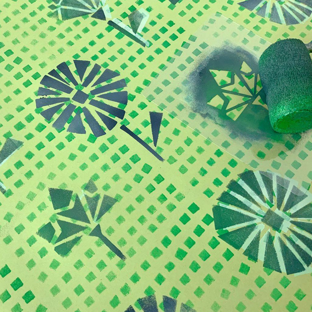 Eckige Blütenschablonendruck ©muellerinart