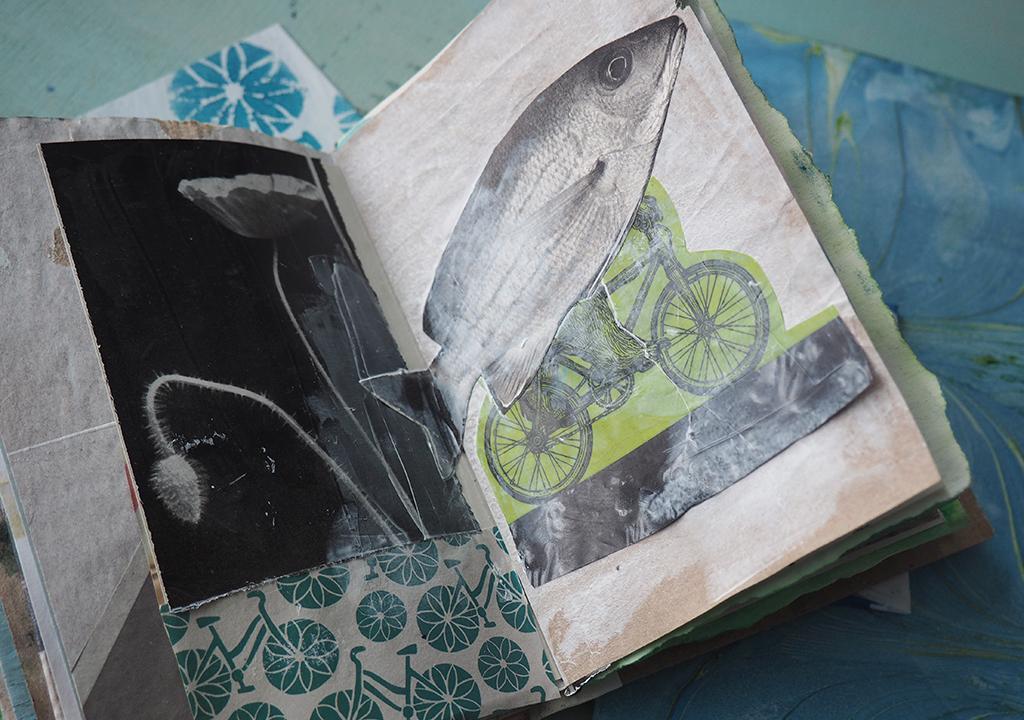 Fisch und Fahrrad Collage ©muellerinart