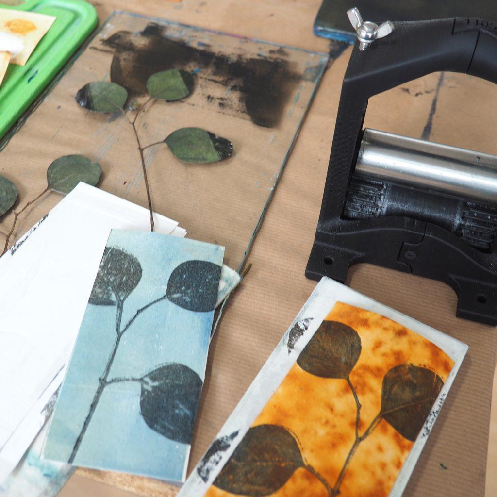 Minipresse Openpress Workshop Pflanzendruck ©muellerinart
